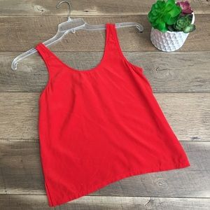 Madewell red silk tank top size xs split sides